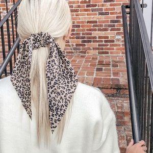 Leopard scarf scrunchie